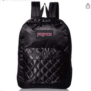 Jansport Black Satin Diamond Quilted Backpack NEW
